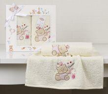 """Комплект махровых полотенец для детей """"KARNA""""  BAMBINO-BEAR 50*70 + 70*120 см (молочный) Арт.2130-1"""