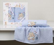 """Комплект махровых полотенец для детей """"KARNA""""  BAMBINO-BEAR 50*70 + 70*120 см (голубой) Арт.2130-2"""