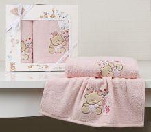 """Комплект махровых полотенец для детей """"KARNA""""  BAMBINO-BEAR 50*70 + 70*120 см (розовый) Арт.2130-3"""