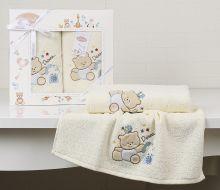 """Комплект махровых полотенец для детей """"KARNA""""  BAMBINO-BEAR 50*70 + 70*120 см (кремовый) Арт.2130-4"""