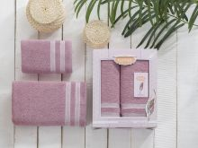 Комплект из 2-х махровых полотенец PETEK 50*90+70*140 (гр.розовый) Арт.2040-9