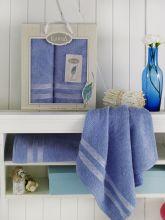Комплект из 2-х махровых полотенец PETEK 50*90+70*140 (голубой) Арт.2040-11