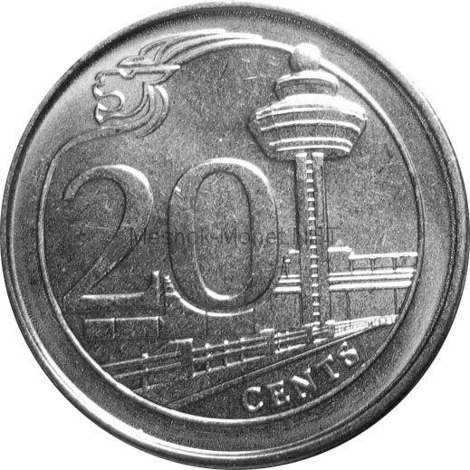 Сингапур 20 центов 2013 г.