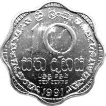 Шри-Ланка 10 центов 1991 г.