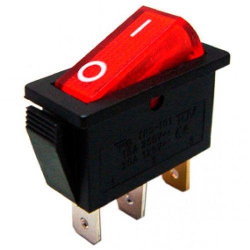 Кнопка вкл /выкл, красная, 250В, 15А