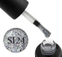Гель-лак Naomi Self Illuminated SI 24 (серебро с блестками и слюдой), 6 мл