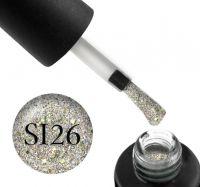 Гель-лак Naomi Self Illuminated SI 26 (салатовое серебро с блестками и слюдой), 6 мл