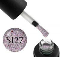Гель-лак Naomi Self Illuminated SI 27 (розовое серебро с блестками и слюдой, и красными конфетти), 6 мл