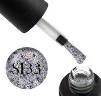 Гель-лак Naomi Self Illuminated SI 33 (сереро с блестками, слюдой и салатово-розовыми конфетти), 6 мл