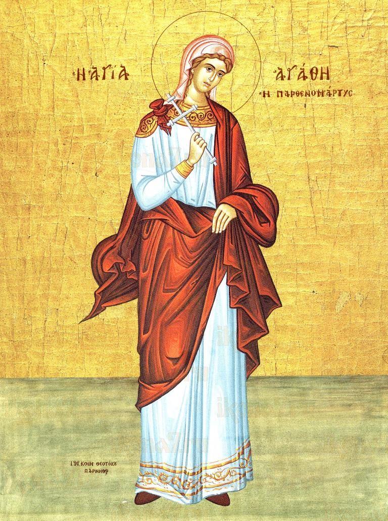 Агафия Панормская (икона на дереве)