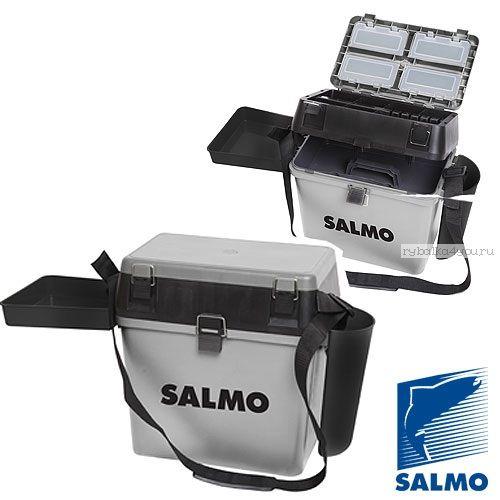 Ящик рыболовный зимний Salmo 2-х ярус.(из 5-ти частей) пласт. 39.5x24.5x38см сер. арт 2075