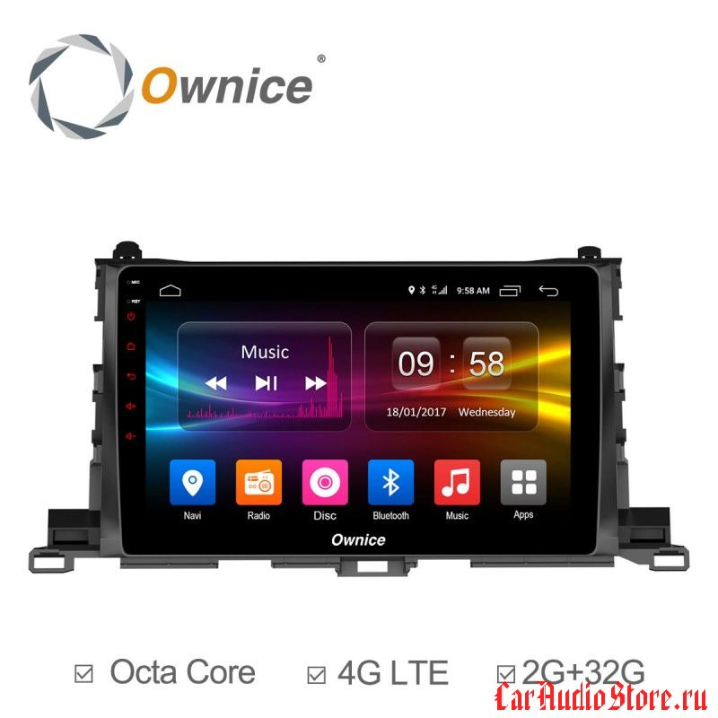 Ownice C500+ S1601P для Toyota Highlander, 2015 (Android 6.0)