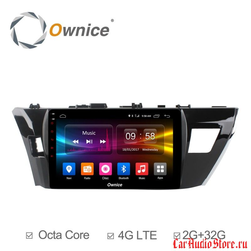 Ownice C500+ S1603P для Toyota Corolla E160 (Android 6.0)