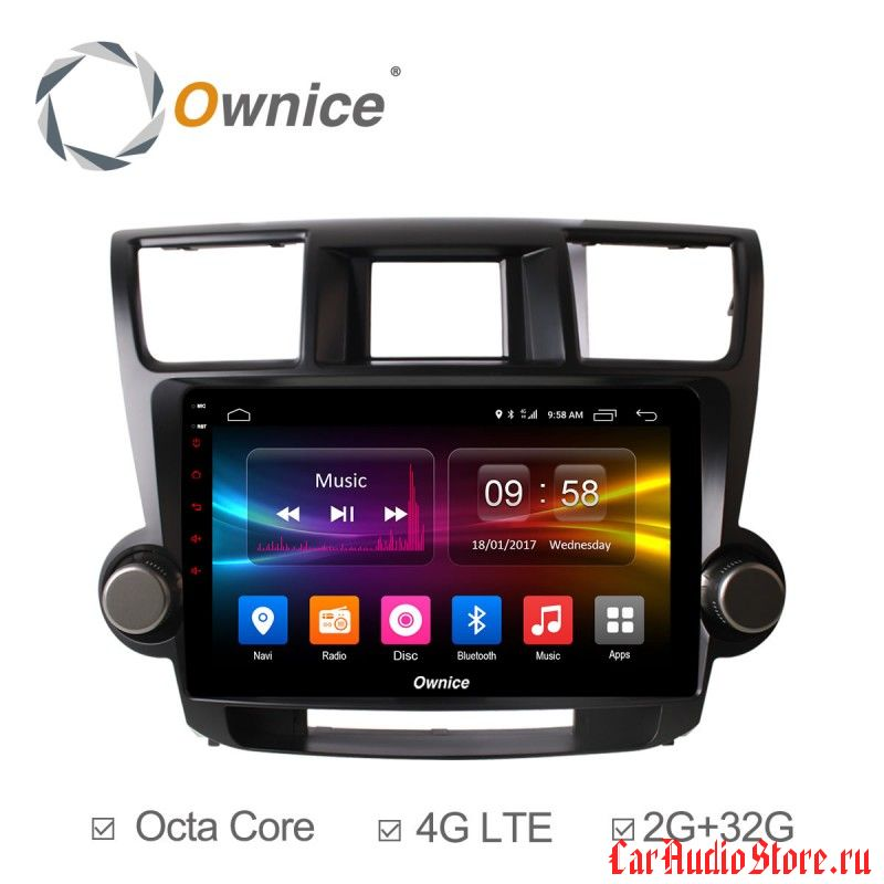 Ownice C500+ S1616P для Toyota Highlander, 2009 (Android 6.0)