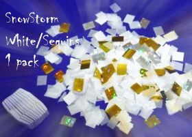 Снежный шторм (квадратики) (SnowStorm) белый с блестками (1 заряд)