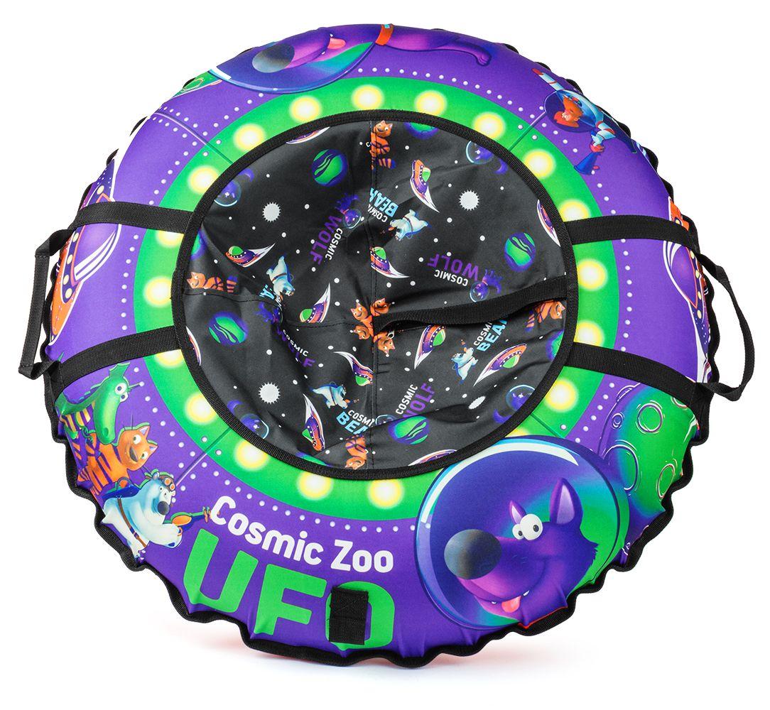 Надувные санки-ватрушка (тюбинг) Cosmic Zoo UFO(Фиолетовый волк)