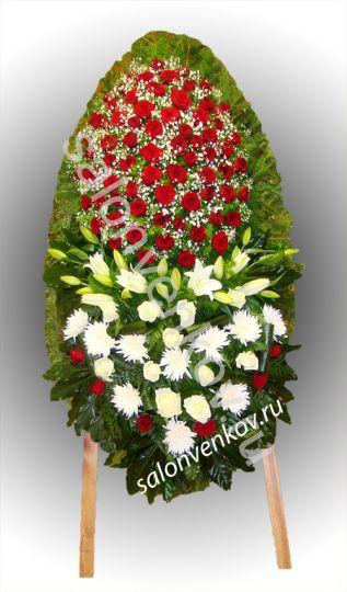 Элитный траурный венок из живых цветов №76, РАЗМЕР 100см,120см,140см,170см