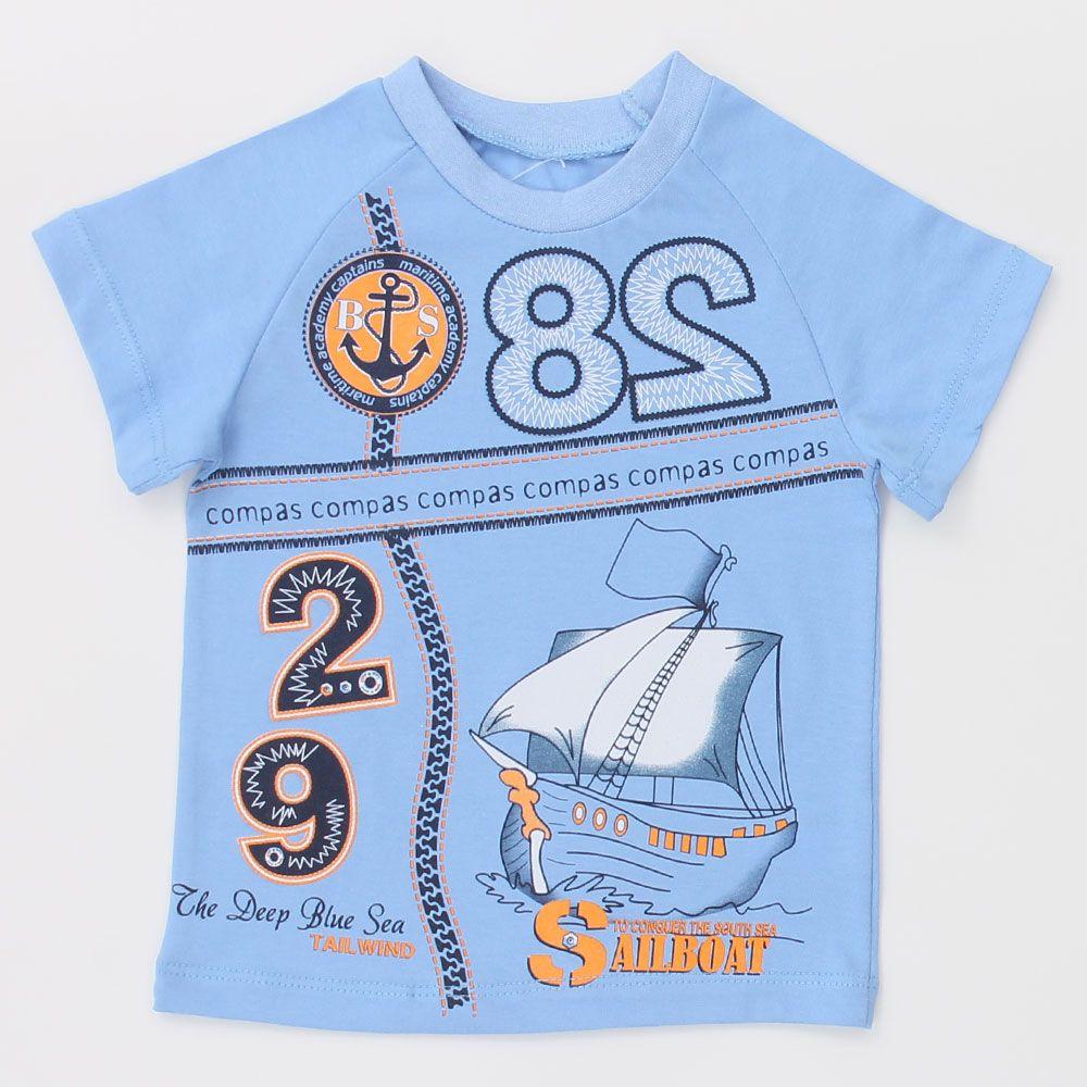 Голубая футболка Корабль