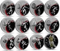 12 серебряных монет Футбол 2018, FIFA World Cup Russia 2018 в футляре