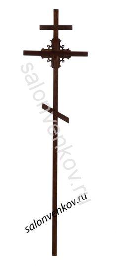 """Крест на могилу деревянный сосна """"Угловой узор"""" 50х50 210см"""