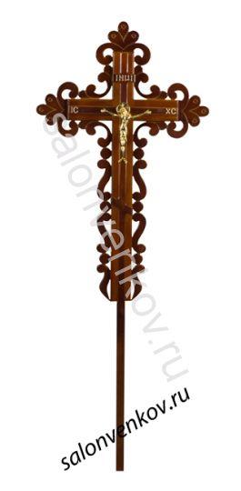 """Крест на могилу деревянный сосна """"Ажурный""""  210см"""