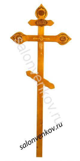 """Крест на могилу деревянный сосна """"Резной фигурный с орнаментом""""  220см светлый"""