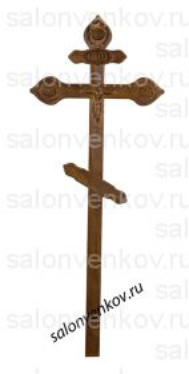 """Крест на могилу деревянный сосна """"Резной фигурный с орнаментом""""  220см состаренный"""
