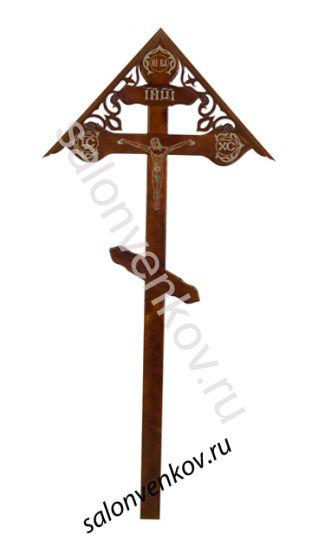 """Крест на могилу деревянный сосна """"Фигурный с распятием с крышкой""""  220см темный"""
