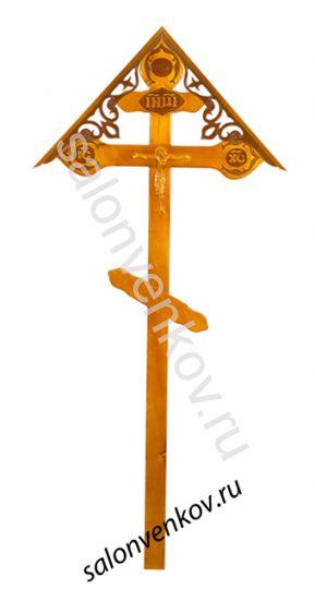 """Крест на могилу деревянный сосна """"Резной фигурный с орнаментом с крышкой""""  220см светлый"""