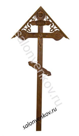 """Крест на могилу деревянный сосна """"Резной фигурный с орнаментом с крышкой""""  220см состаренный"""