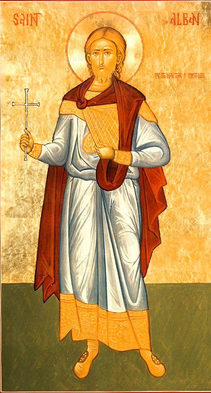 Альбан  Британский (Албаний) (рукописная икона)