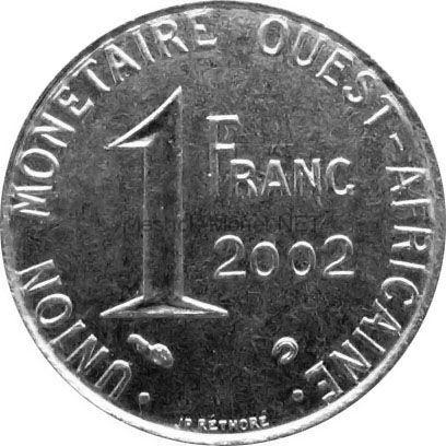 Западно-Африканский союз 1 франк 2002 г.