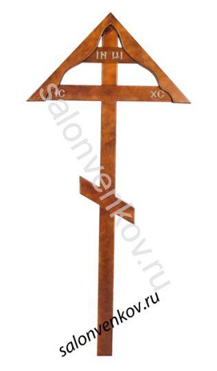 """Крест на могилу деревянный из дуба """"Домик""""  210см"""