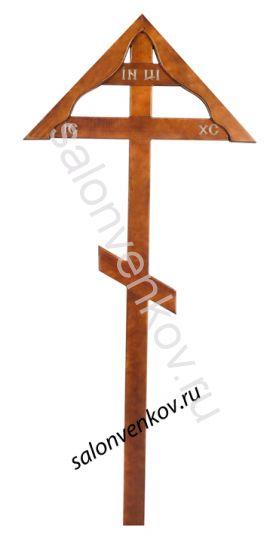 """Крест на могилу деревянный из дуба """"Домик""""  230см"""