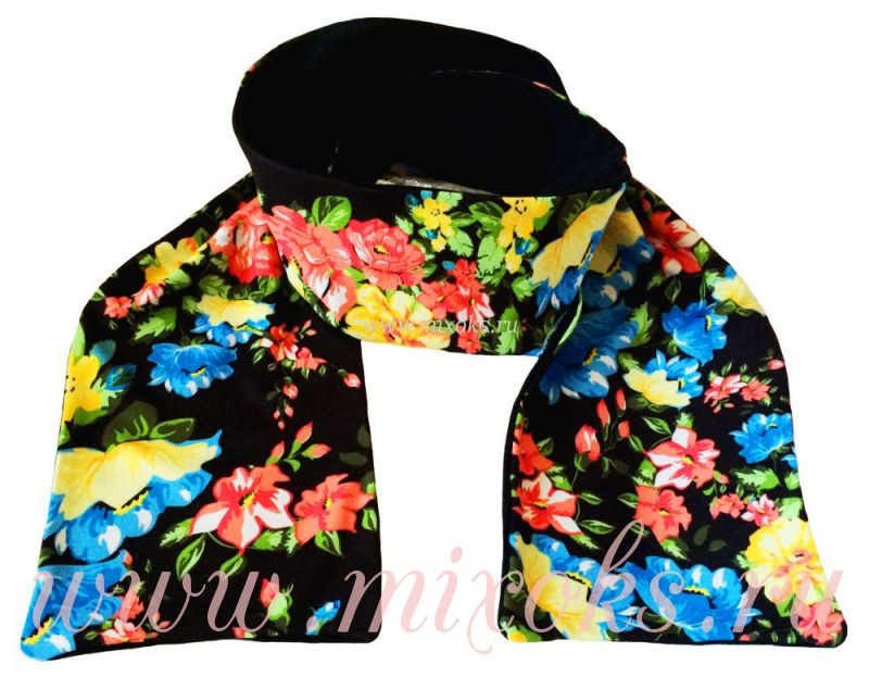 шарф черный русские узоры