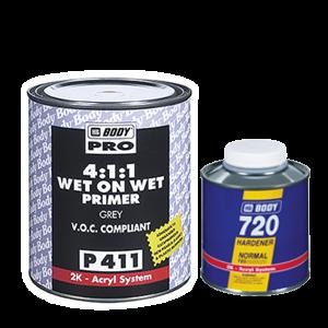HB Body Грунт - изолятор P411 Wet on Wet 4+1 Grey с отвердителем H729 (комплект), объем  1л. + 250мл.