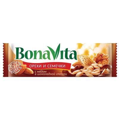 Батончик Бона Вита орехи и семечки с мёдом в шоколадной глазури 35г