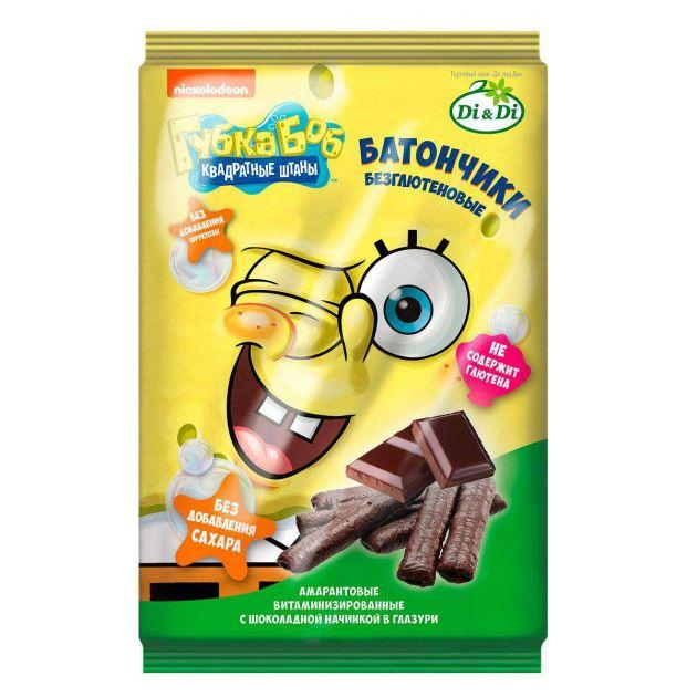 Батончик Ди&Ди Губка Боб амарантовые с шоколадной начинкой в шоколаде без сахара 20г
