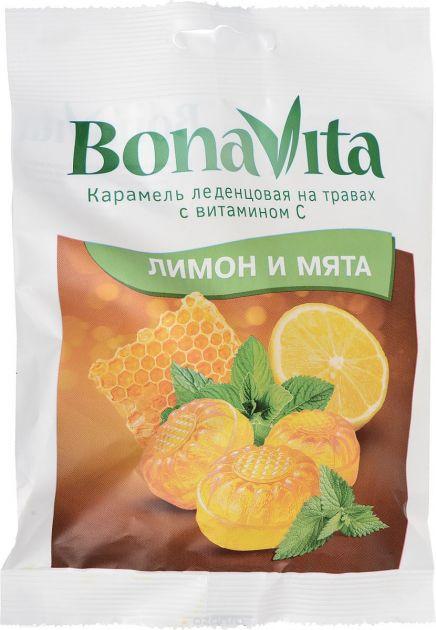 Карамель Бона Вита леденцовая на травах Лимон и Мята с витамином С 60г