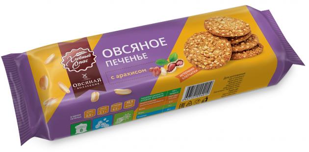 Печенье Хлебный Спас Овсяное с арахисом п/п 150г
