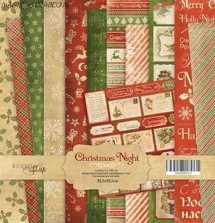 """Набор односторонней бумаги 30х30см от Scrapmir """"Christmas Night"""""""
