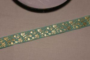 Лента репсовая с рисунком, ширина 22 мм, длина 10 метров цвет: бирюзовый, Арт. ЛР5617-4