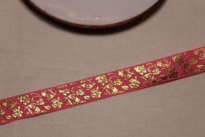 Лента репсовая с рисунком, ширина 22 мм, длина 10 метров цвет: розовый, Арт. ЛР5617-5