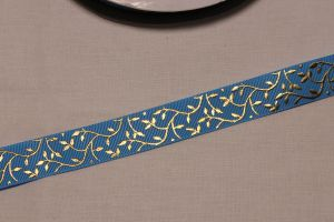 Лента репсовая с рисунком, ширина 22 мм, длина 10 метров цвет: голубой, Арт. ЛР5622-3