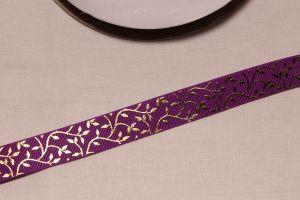 Лента репсовая с рисунком, ширина 22 мм, длина 10 метров цвет: фиолетовый, Арт. ЛР5622-4