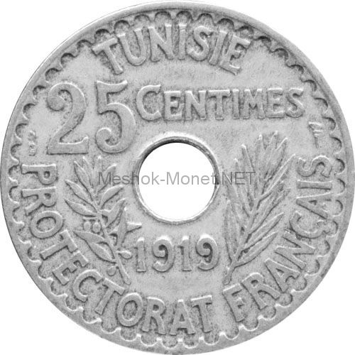 Тунис 25 сентим 1919 г.