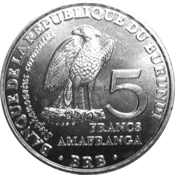 Бурунди 5 франков 2014 г. Венценосный орёл