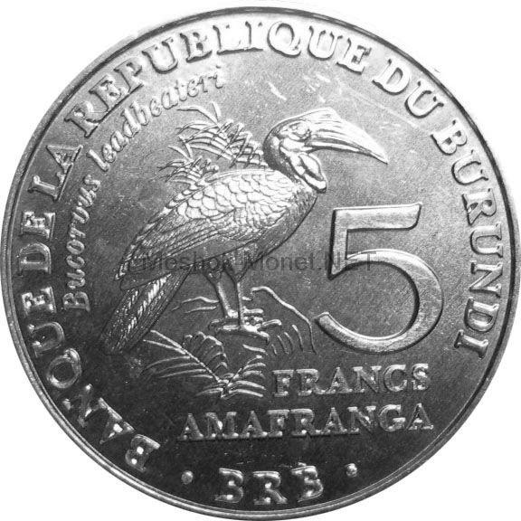 Бурунди 5 франков 2014 г. Кафрский рогатый ворон