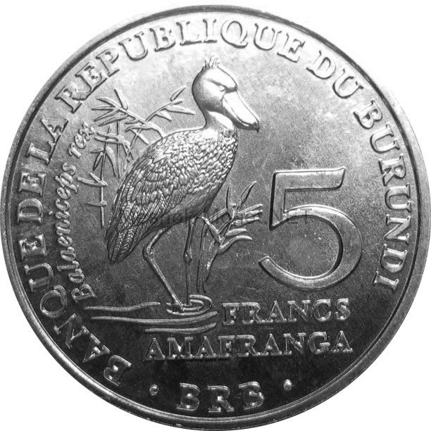 Бурунди 5 франков 2014 г. Китоглав
