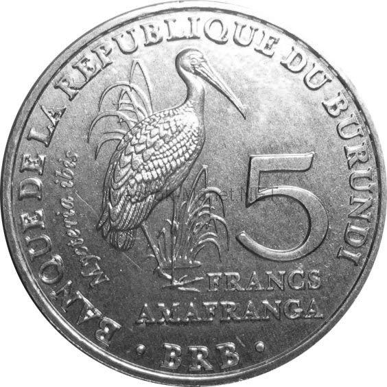 Бурунди 5 франков 2014 г. Африканский клювач